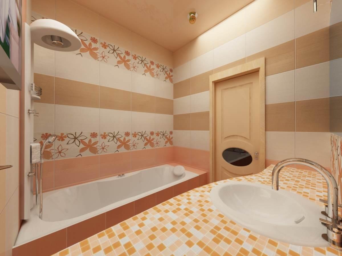 Дизайн для маленькой ванной комнаты с мозаикой в песочных тонах
