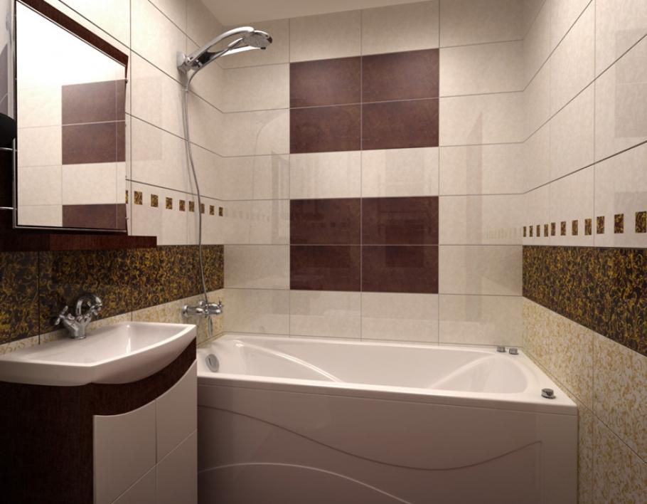 Фото для маленькой ванной комнаты с оригинальным коричневым дизайном