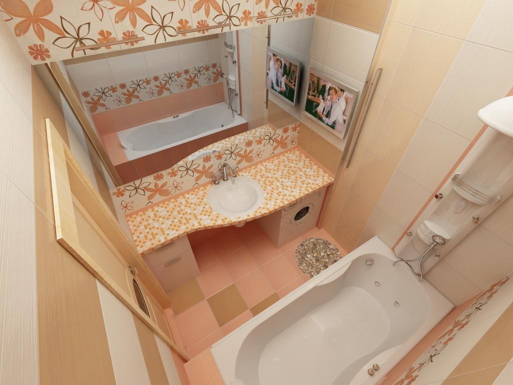 Фото дизайна для маленькой ванной комнаты в постельных нежных тонах