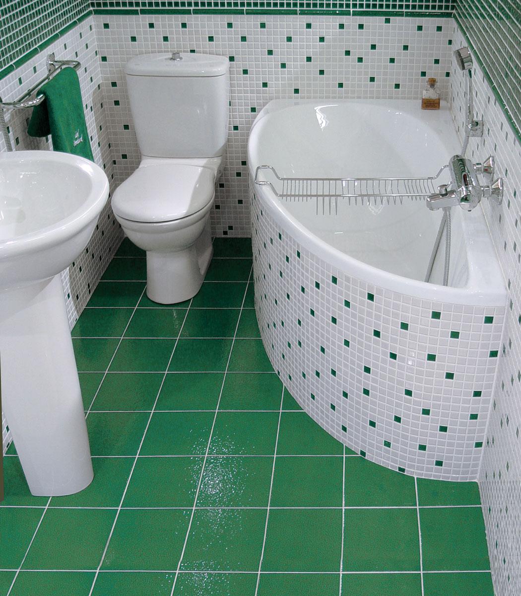 Фото дизайна маленькой ванной комнаты с декором в зеленом цветет