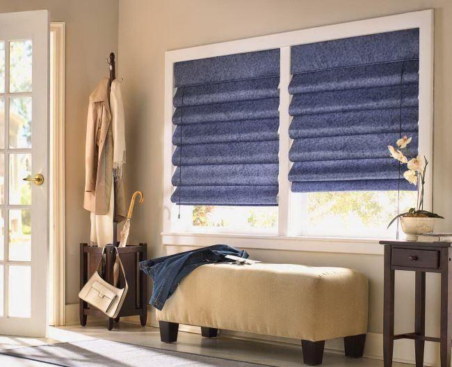 синие римские шторы фото
