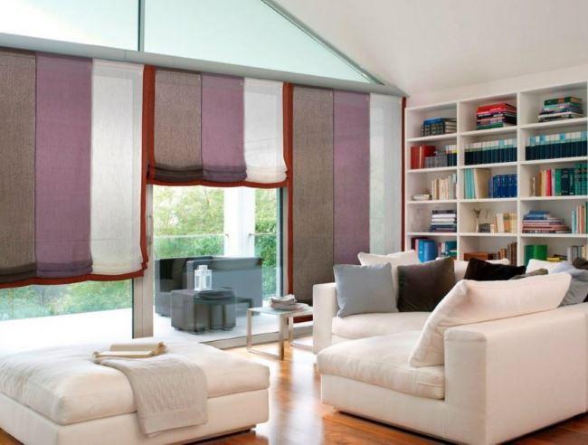 гостиная римские шторы разноцветные фото