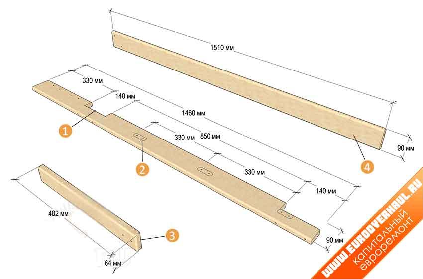1 — вырезы 38 мм; 2 — места крепления ступенек; 3 — ступени лестницы, 3 шт.; 4 — ограждение.