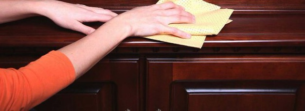Мыть мебель от пыли необходимо влажной или сухой тряпочкой