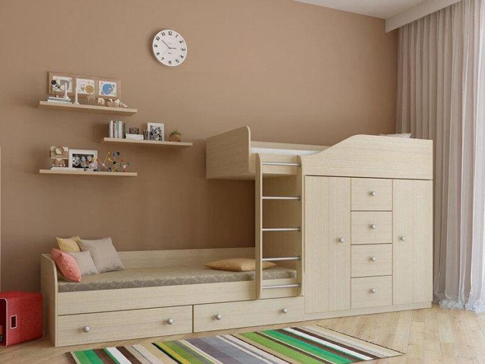 Двухъярусная кровать со шкафом