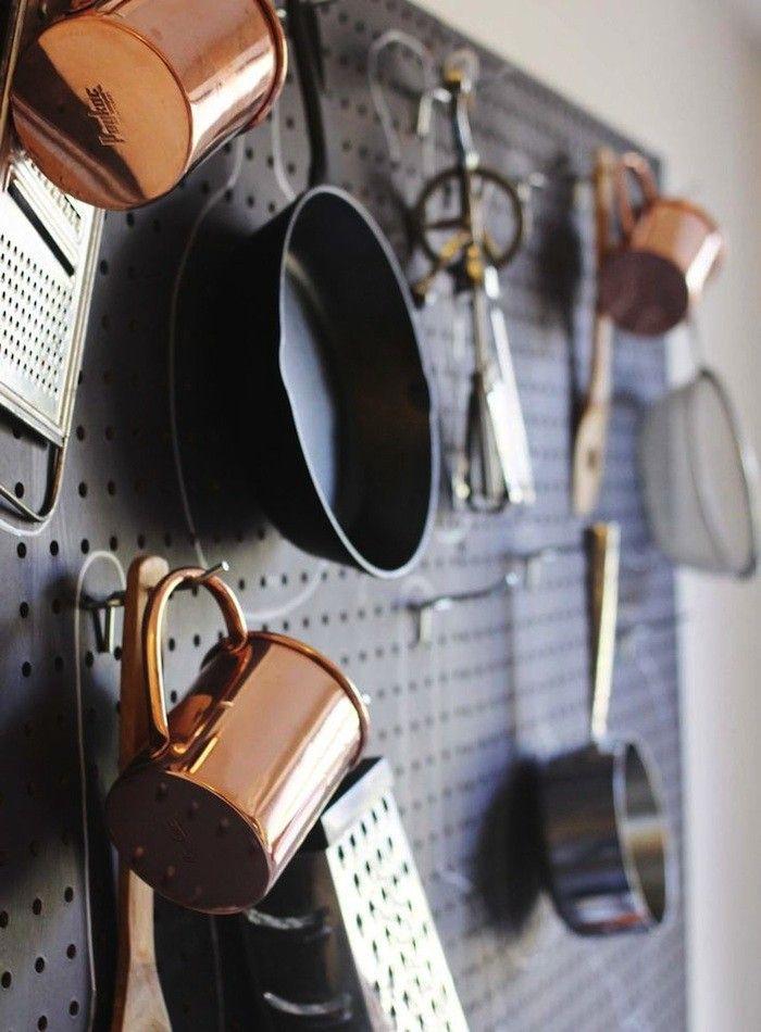 Размещение кухонной утвари на стене кухни