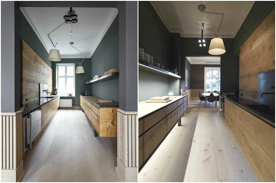Параллельная планировка узкой и вытянутой кухни