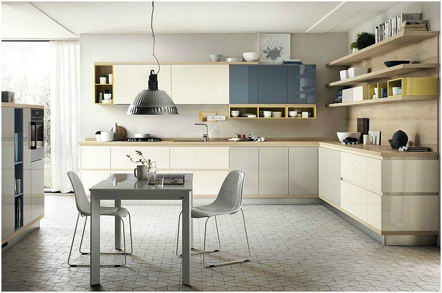 Г-образная планировка современной кухни