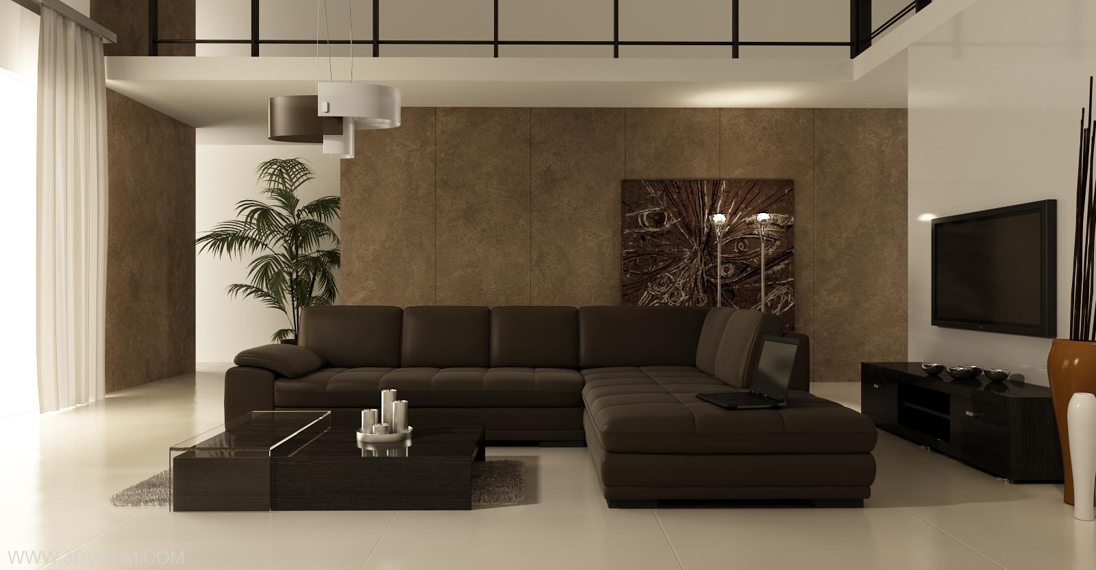 Интерьер гостиной в стиле минимализм в бежево - коричневых тонах