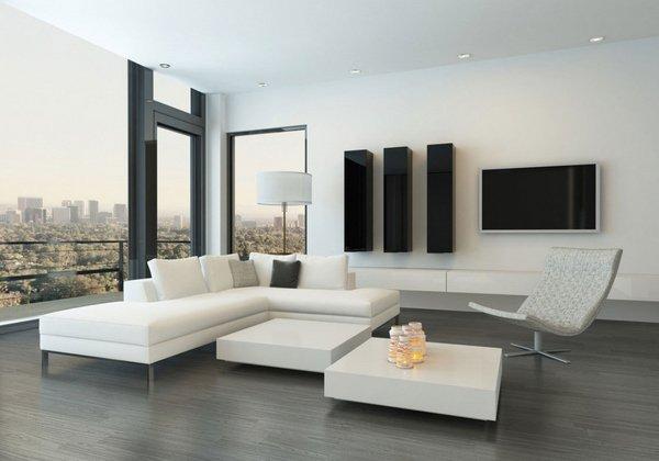 Черно - белый интерьер в стиле минимализм