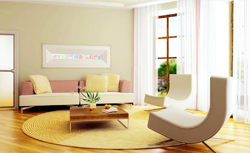Аксессуары в гостиной в стиле минимализм