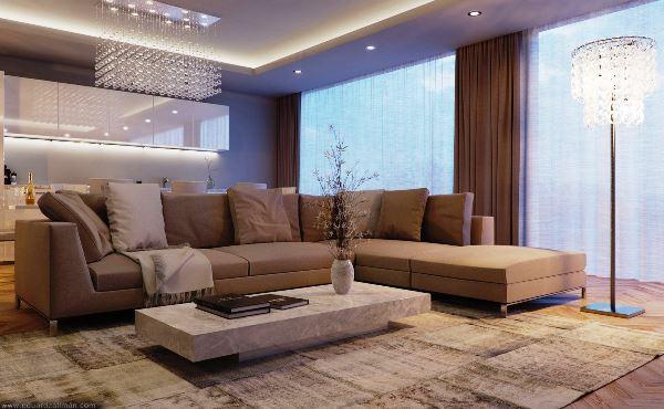 дизайн гостиной в бежево коричневых тонах фото
