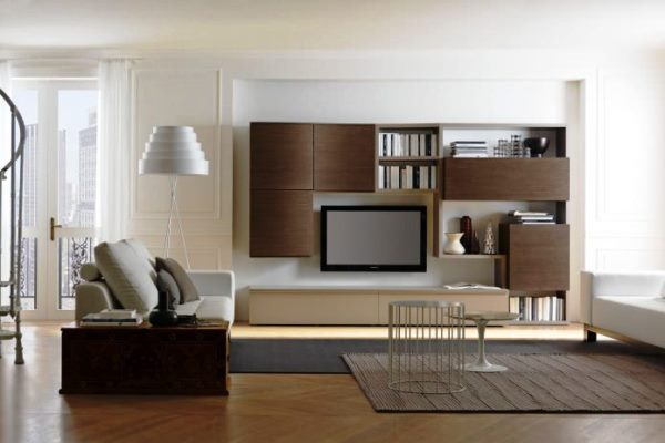 интерьер гостиной в бежево коричневых тонах фото