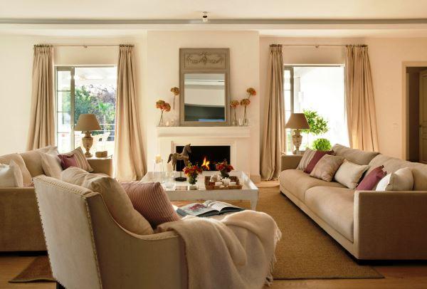 бежевый диван в интерьере в гостиной фото