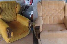 Перетяжка кресла и стула до после