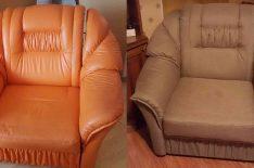 Перетяжка кресла в СПб до после