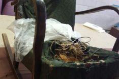 Перетяжка кресла качалки фото ДО