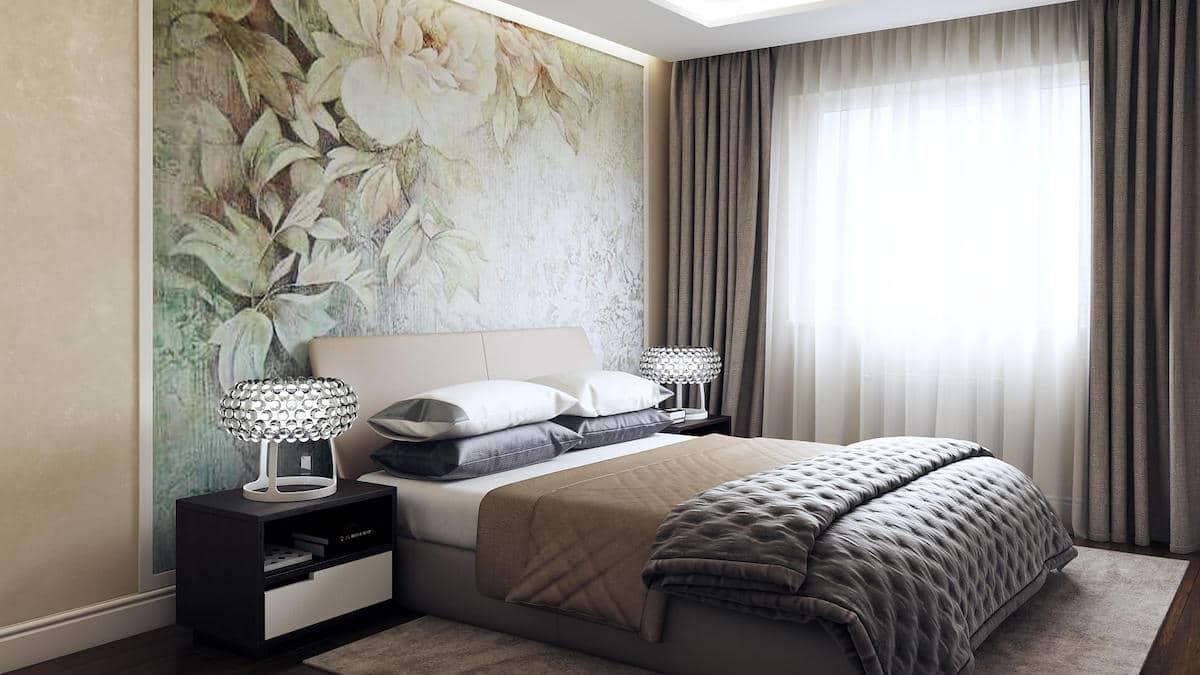 Текстильные обои прекрасно подойдут как для полной, так и частичной отделке стен в спальне