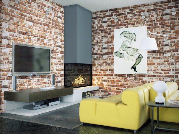 Фото стены с имитацией кирпича
