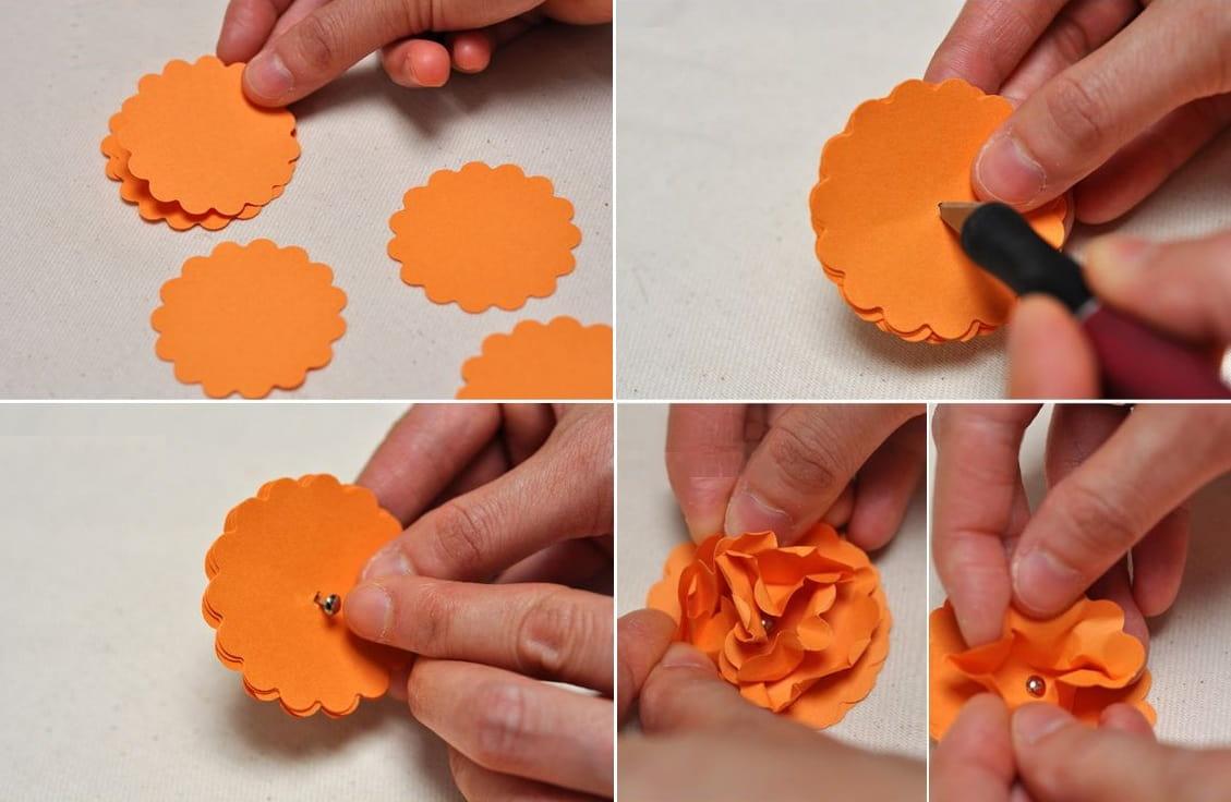 Оригинальное оформление цветка из цветной бумаги