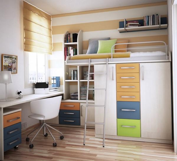 Кровать-чердак со шкафом для подростка