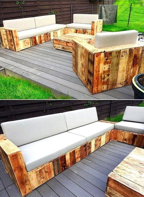 Сбив из обычных обрезных досок каркасы для кресел и дивана и уложив на них мягкие подушки, можно получить отличную садовую мебель для вашего загородного дома