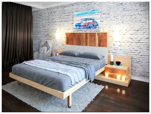 кровать в интерьере в стиле лофт
