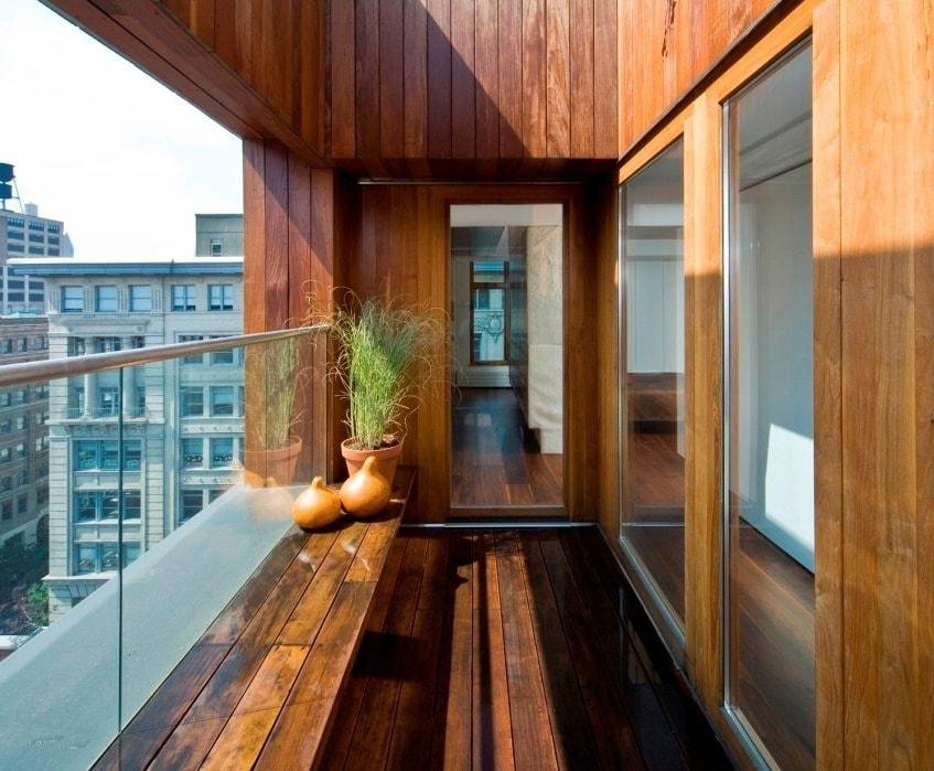 деревянные ниши для сидения на балконе