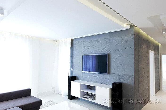 Современная гостиная с использованием арт бетона