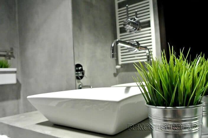 Ванная с отделкой под бетон 5