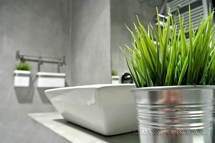 Ванная с отделкой под бетон 4