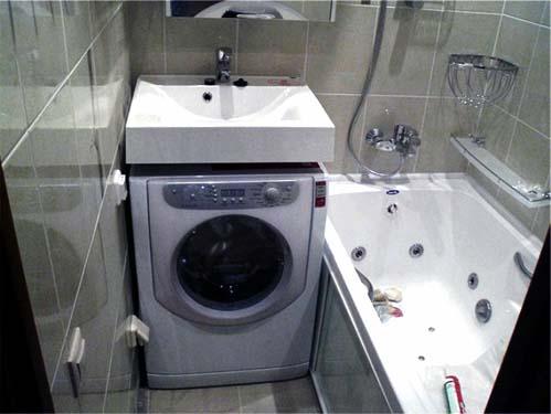 Как разместить в маленькой ванной стиральную машинку фото
