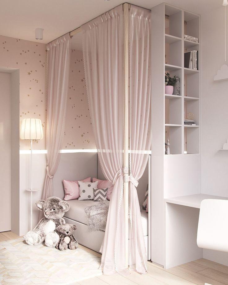 Легкие полупрозрачные занавески для кровати помогут достичь нужного уединения для ребенка, одновременно делая комнату элегантной и утонченной