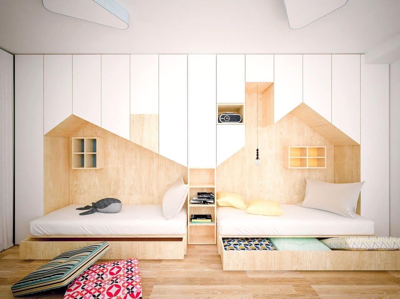 Комфортные домики для двойняшек с удобными и продуманным местами для хранения