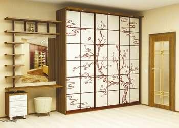 Шкаф купе с рисунком сакуры