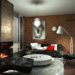 современный лофт в интерьере гостиной комнаты