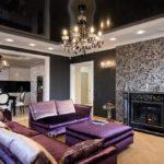 темные оттенки стиля арт-деко в оформлении гостиной комнаты