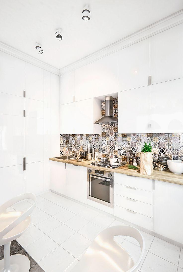 Белый глянцевый фасад для всей мебели на кухне - смелое решение