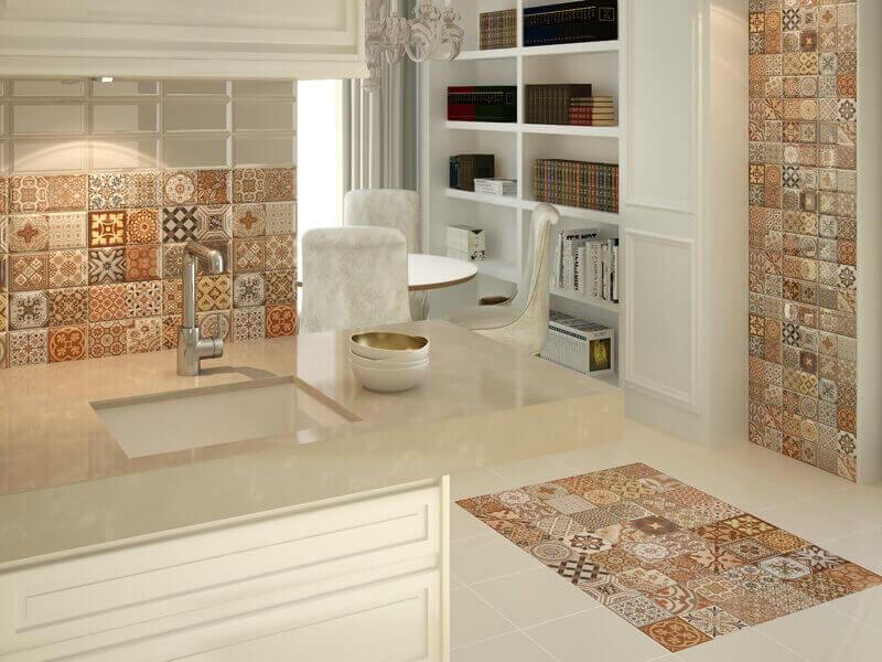 Продолжить цветовую стилистику фартука на кухне можно также на полу и стене