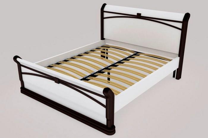 Двухцветная кровать с ортопедическим основанием