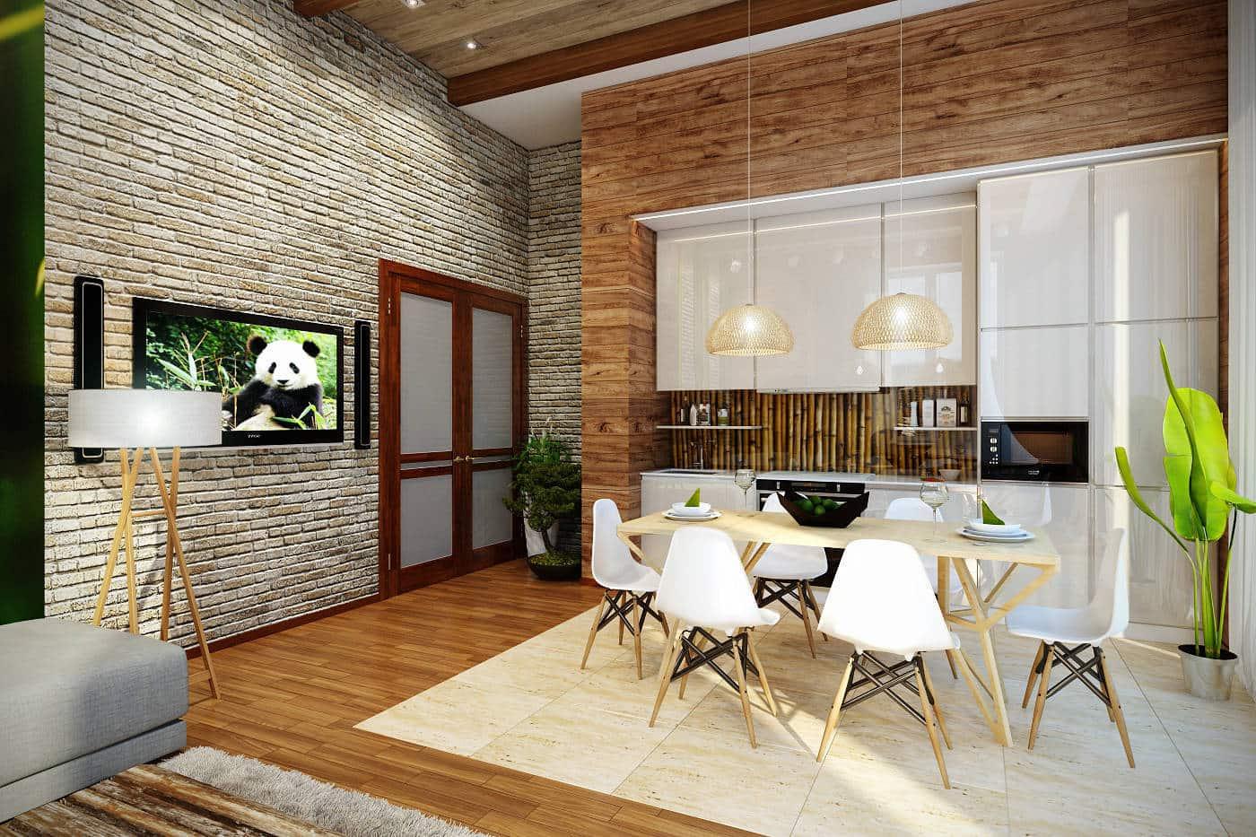 Красивый дизайн двухкомнатной хрущевки с объединенными комнатами в стиле эко