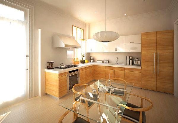 Стеклянный стол в интерьере деревянной кухни