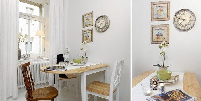 Удобное расположение стола на маленькой кухне
