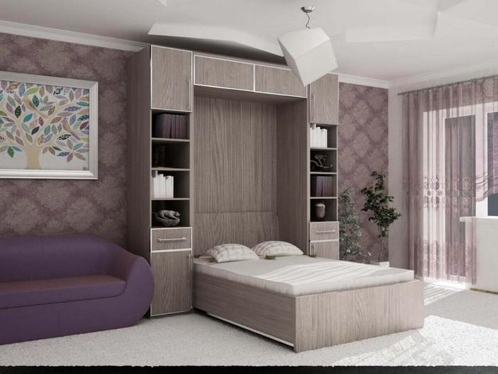 Кровать-трансформер в интерьере гостиной