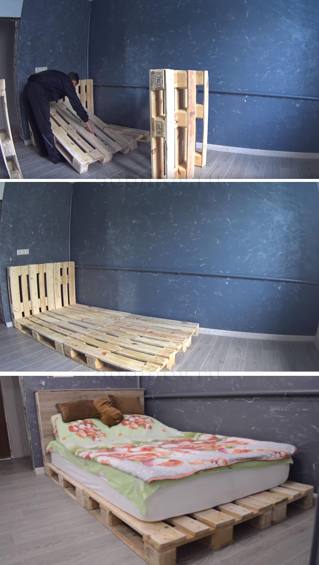 Односпальная кровать из поддонов своими руками
