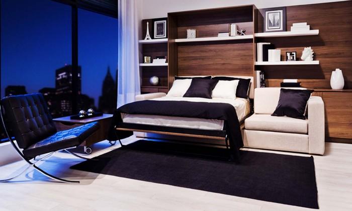 Современный интерьер комнаты с кроватью-трансформер