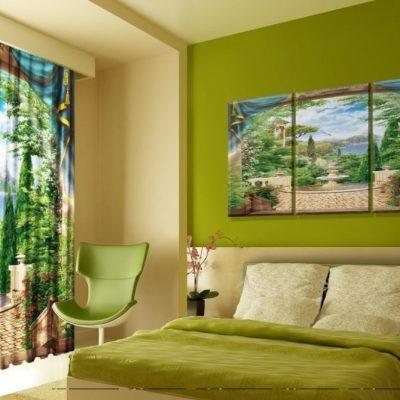 Яркая зеленая спальня