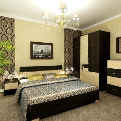 Спокойных оттенков спальня