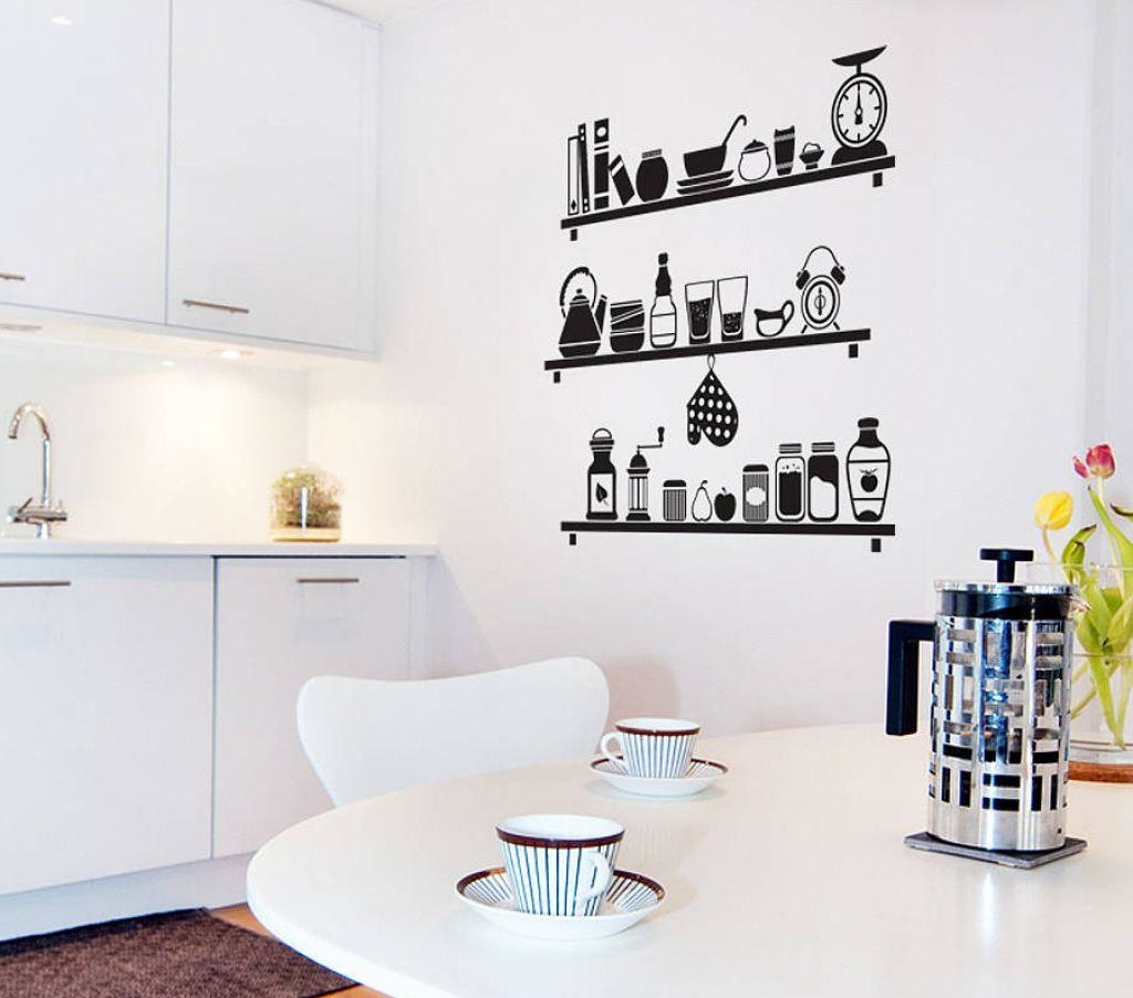 Иллюстрация полок с кухонной утварью