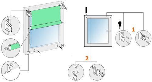 Установка рулонной шторы без сверления